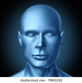 Human head frontal view representing a symbol of humanity in the fields of medicine and mental health as well as healthy lifestyle.