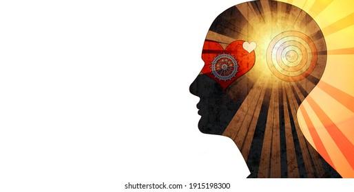 menschlicher Kopf mit Zahnräder, Herdsonne und weißer Hintergrund, 3D-Illustration