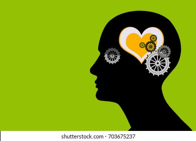 human head with gears,yellow heart and green background
