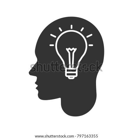 Royalty Free Stock Illustration Of Human Head Lightbulb Inside Glyph