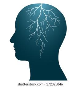 human head with a lightning flash inside, isolated headache epilepsy seizure