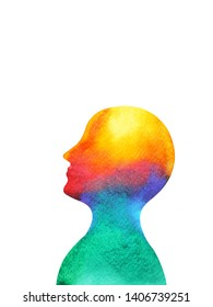 human head mind spirit brain energy  power abstract art watercolor painting illustration design hand drawn