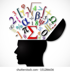 human head open with color mathematical symbols I illustration