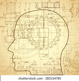 human head outline with old paper technical drawings background / illustration