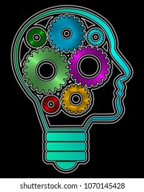 A human head profile shaped bulb with inside iron gears. Inside the head some colorful gears. Black background.