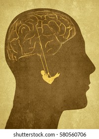 human head silhouette with brain and swing