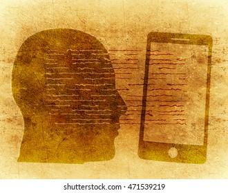 human head silhouette and smartphone digital illustration