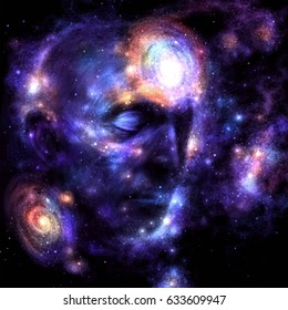 Human head in space.Brain power, meditation, galaxy