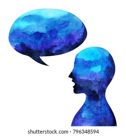 human head, speaking speech bubble abstract, watercolor painting
