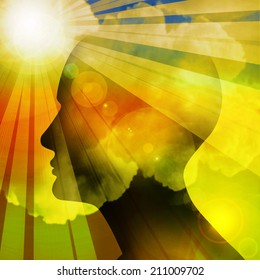 human head with sun and colorful background