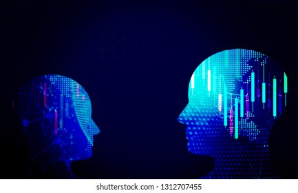 Human head technology background.Investment trading concept