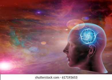 human head-3D illustration , space of Elements of this image furnished by NASA