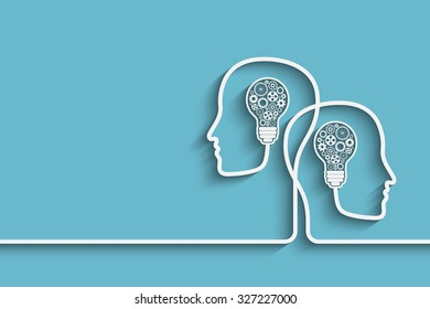 Human heads creating a new idea background.