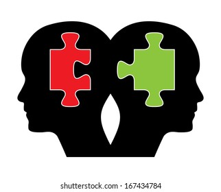 Human heads with green and red puzzle. Creative brainstorm design concept. Easy to edit abstract isolated illustration with twins.