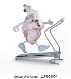human heart with arms, legs and sneackers on his feet on a running machine, 3d illustration