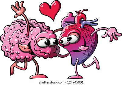 Human heart  and brain in a romantic encounter while falling in love