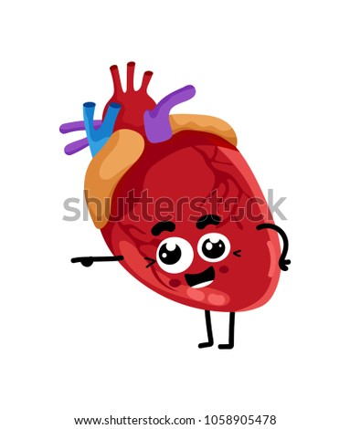 human heart cute cartoon character body stock illustration royalty