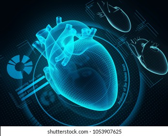 The human heart diagnostic through artificial inteligence technology. Sci-fi medicine. 3d illustration.