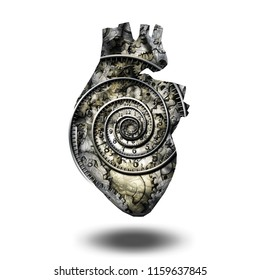 Human heart gears and time spiral. 3D rendering