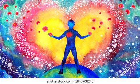 human heart healing flower flow in universe world love spiritual mind mental health chakra power abstract soul art watercolor painting illustration design drawing