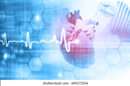 Human heart on abstract dark background. 3d illustration