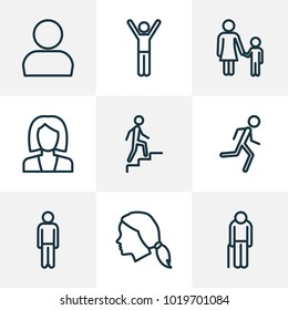 Human icons line style set with happiness, personal data, human and other mother elements. Isolated  illustration human icons.