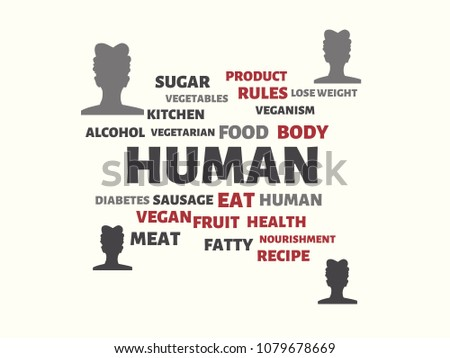 human image words associated topic nutrition stock illustration