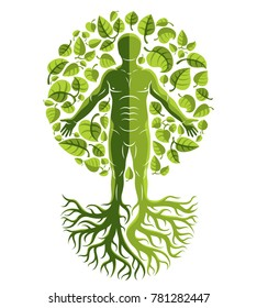 human, individuality created with tree roots and surrounded by eco green leaves. Family tree, tree of life conceptual graphic illustration.