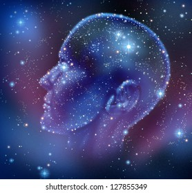 Human inspiration and creative intelligence with a constellation of bright stars in space in the shape of a human head illuminated on a night sky as a brain function neurology health care symbol.