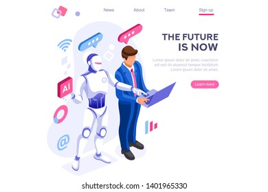 Human interactive tech interaction. Images of robot human working at office, can use for web banner, infographics, hero images. Flat isometric illustration isolated on white background
