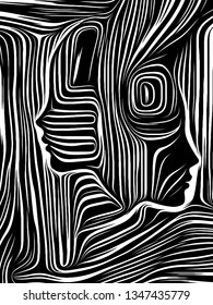 Human Line series. Woodcut face in black and white woodcut style on the subject of poetry, creativity and art.