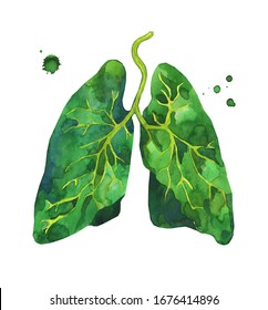 Human lungs in watercolor. Green is the color of life. Take care of your health, the health of the planet. Earth Day.  Stop Virus, protecting yourself and the world. Symbol of life, purity. Isolated