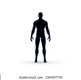 Human Man Standing With Nude Body 3D Rendering
