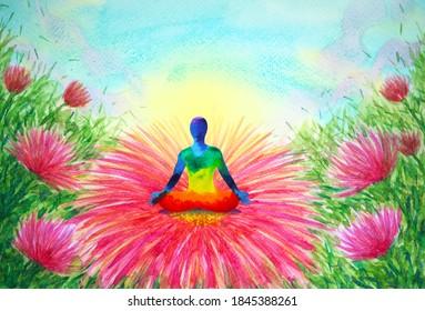 human meditate mind mental health yoga art meditation chakra spiritual healing watercolor painting illustration design in blooming flower garden abstract concept