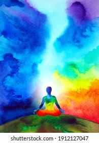human meditate mind mental health yoga chakra spiritual healing abstract energy meditation connect the universe power watercolor painting illustration design drawing art