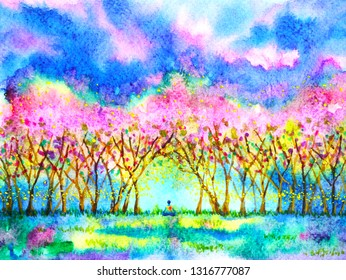 Human meditate in pink cherry blossom forest spring season watercolor painting illustration hand drawn design background