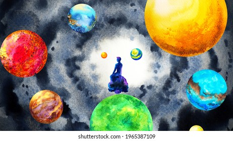 human meditation spiritual mind mental abstract universe healing watercolor painting illustration design