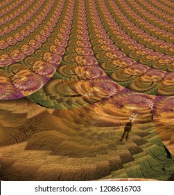 Human Mind Abstract Fractal Composition. 3D rendering