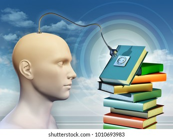 Human mind connecting to a pile of books. 3D illustration.