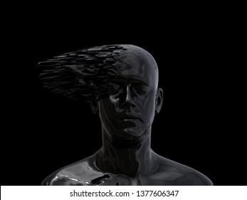 human mind explosion, 3d illustration