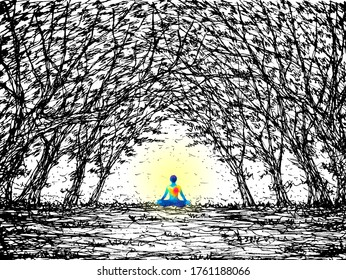 human mind spiritual meditation peace in tree forest watercolor painting hand drawing illustration design