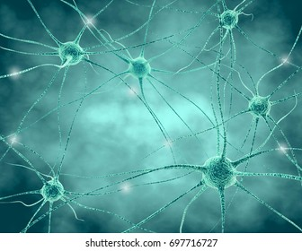 Human nervous system . Nerve cells with synapses and neurotransmitters 3D illustration.
