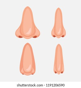 Human nose, illustration set icon design