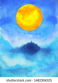 human on top mountain abstract spiritual mind power full moon watercolor painting illustration design