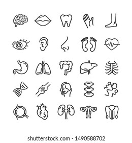 Human Organs Black Thin Line Icon Set Include of Stomach, Heart, Liver, Kidney and Eye. illustration of Organ