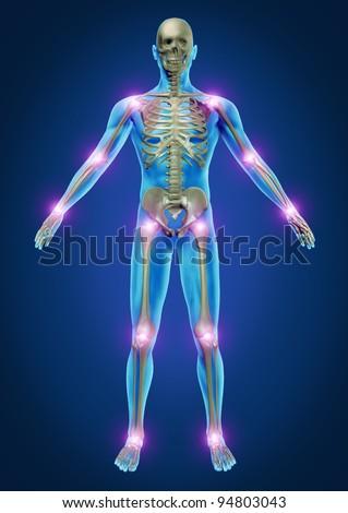 Human Painful Joints Skeleton Anatomy Body Stock Illustration