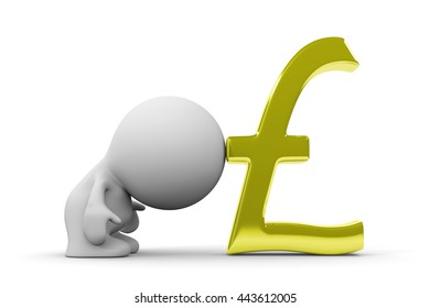human person leaning on a huge golden pound sign (3d illustration on a white background)
