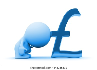 human person leaning on a huge blue pound sign (3d illustration on a white background)
