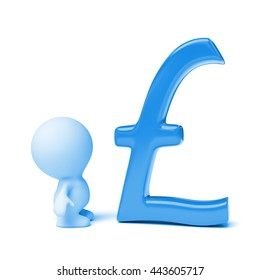 human person looking at blue pound sign (3d illustration on a white background)