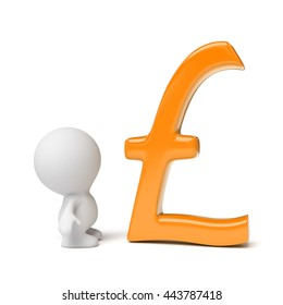 human person looking at orange pound sign (3d illustration on a white background)